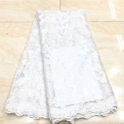 white Sequin Lace Fabric Mesh Purple Color African Embroidery Sequence Nigerian French Party Latest High Quality Tulle Hot Sale