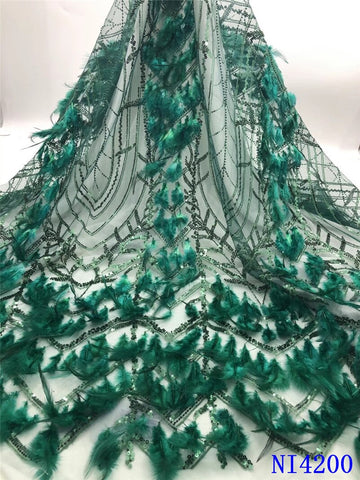 New Arrival French Tulle Lace With Feather High Quality Sequin Lace Fabric For Nigerian Lace Wedding Dresses 5yards NI4200-2