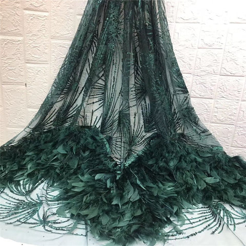 Image of French chiffon lace green with beautiful feather fabric, high quality latest African lace beads 2019 party dress fabric
