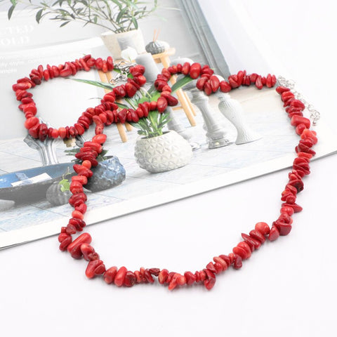 Charming Necklace Bracelet Dubai Jewelry Set Red Coral Stone Wedding African Beads Bridal Sets Natural Stone Chain Jewelry A929