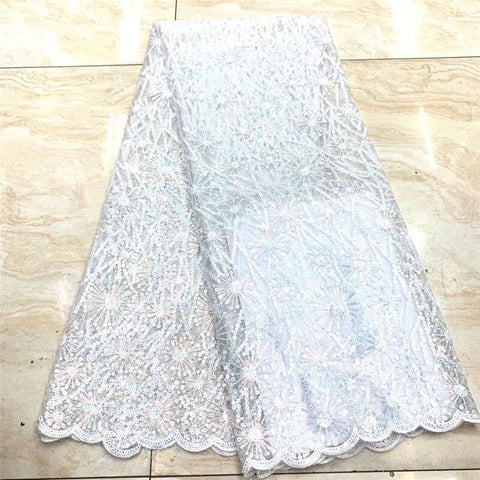 Image of white Sequin Lace Fabric Mesh Purple Color African Embroidery Sequence Nigerian French Party Latest High Quality Tulle Hot Sale