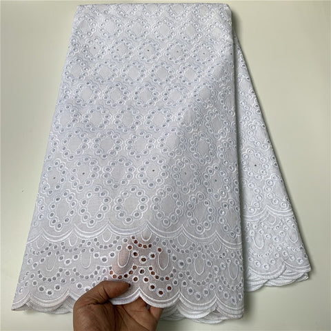 Image of 2021 High Quality African Lace Fabric Embroidery Swiss French Tulle Lace Pure Cotton 2.5Yards Prom Dresses Latest Damask Wedding