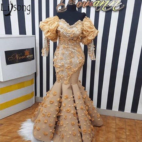 Image of African Gold Mermaid Evening Dresses Handmade 3D Flowers Off Shoulder 3/4 Long Sleeves Prom Dress Plus Size Women Formal Gowns