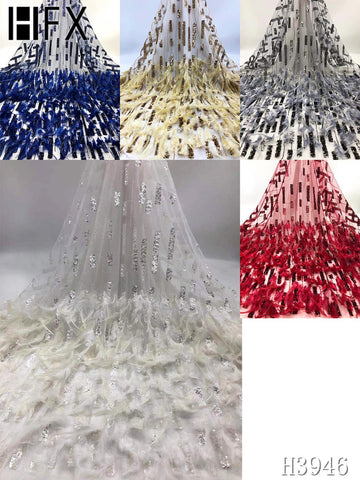 HFX Lace Fabric African Lace Fabric 2020 High Quality Tulle Lace Fabric With Feather Nigerian Lace Fabric For Women Clothes
