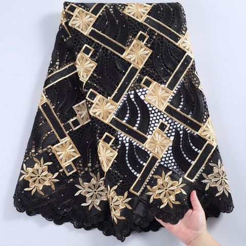 Image of SJD LACE 2021 High Quality Guipure Cord Fabric Mesh African Fabric Black Nigerian Fabric For Women Wedding And Party Dress A2241