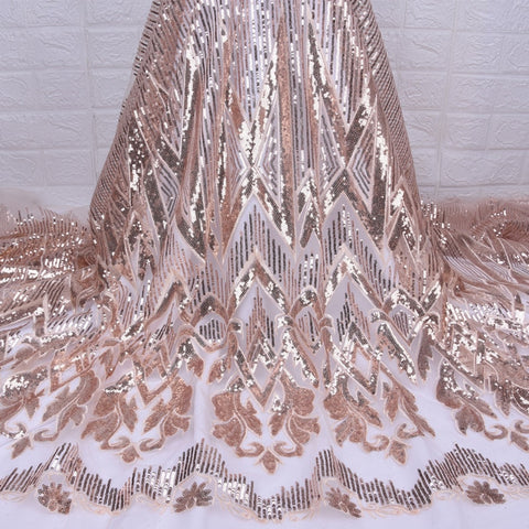 Nigerian gold tulle sequins embroidery Lace Fabric 2019 High Quality African dry voile Lace Fabric for French Happy party