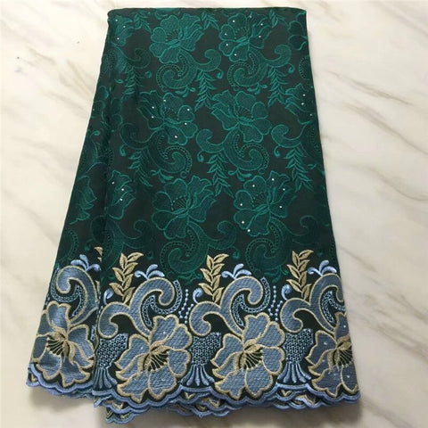 Image of 2020 High Quality African Swiss Voile Lace Fabric With Stones 5 Yards Soft Embroidery Dry Voile Lace Materials In Switzerland