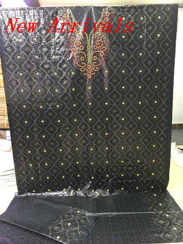 African Best Quality Dubai Atiku Fabrics Getzner Bazin Riche Lace Fabric Beads Stones Neck Designs Textiles 3+2+2Yards For Dress