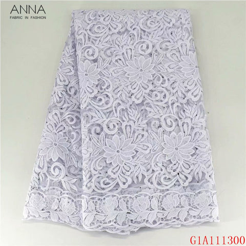 Anna white african milk silk lace fabric embroidery with stones french net lace nigerian tulle fabrics 5 yards/piece for wedding