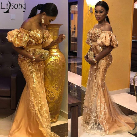 Image of Aso Ebi African Lace Evening Dress Mermaid Off the Shoulder Nigerian Style Prom Dresses Plus Size Shiny Sequins Gold Formal Gown