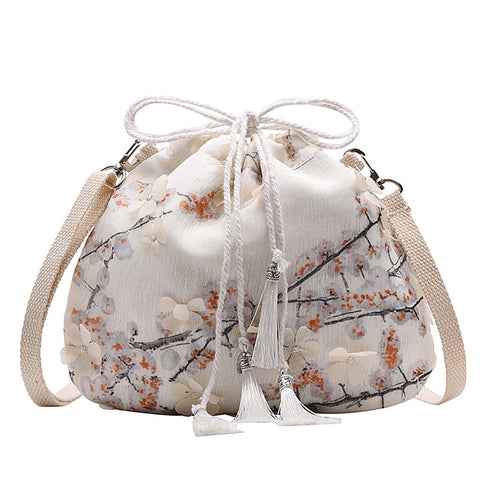 Lace Drawstring Bag Antique Bucket Bag Handbag Fashion Ladies Shoulder Bag Retro Messenger Bag Bolsas De Mujer #SRN