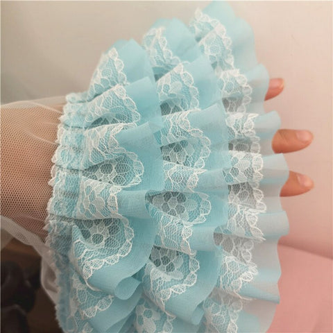 Trend Many Colors Three-layer Chiffon Mesh Tulle Lace Trim Fabric DIY Doll Skirt Cuffs Curtain Edge Sewing Accessories Material