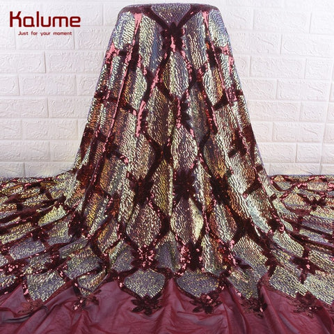 Image of Kalume African Lace Fabric Diy Dress Gold French Mesh Sequins Lace Fabric Dresses Nigerian Lace Fabric For Wedding Party F1890