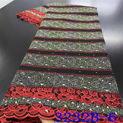 Image of African Swiss Voile Lace High Quality Embroidered Lace Fabric New Nigerian Cotton Laces with Stones for Dresses KS3232B