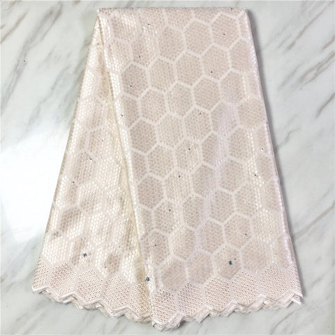 Image of New african lace fabric high quality swiss voile Lace women dress material cotton lace 5yards