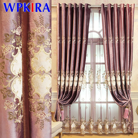 Image of European Purple Blackout Curtains Italy Velvet Gold Embroidery Floral Tulle For Bedroom Living room Window Drapes Customize D3