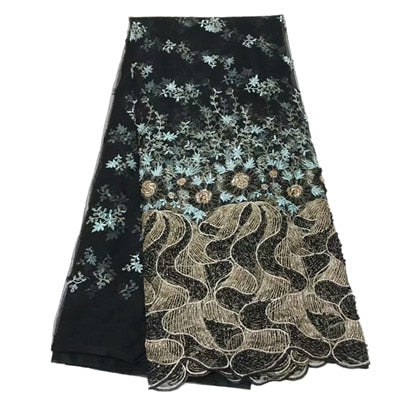 Image of Heavy French Dress Tulle Lace Latest Green/Gold African Sequin Embroidered Net Lace Luxury Handmade Beaded Lace Fabric X1711