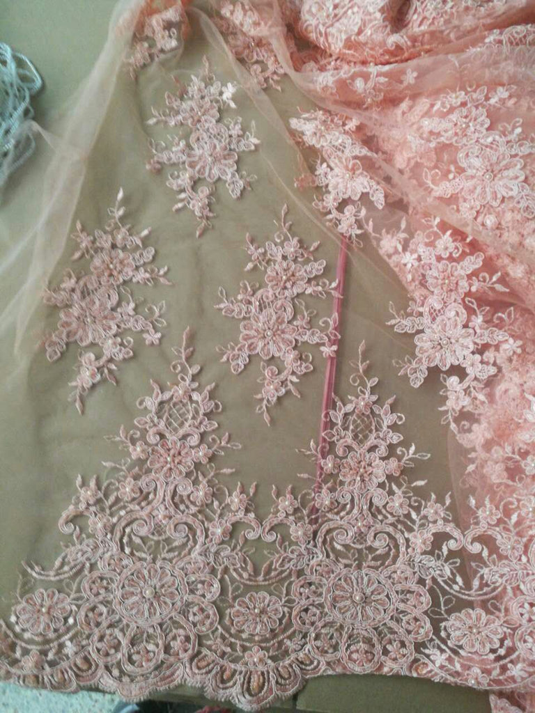 Heavy bead New design african lace fabric 2017 pink color french tulle lace fabric for wedding dress.Swiss voile lace