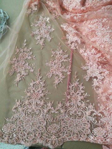 Image of Heavy bead New design african lace fabric 2017 pink color french tulle lace fabric for wedding dress.Swiss voile lace
