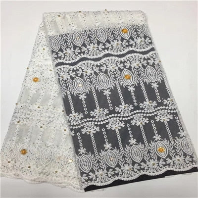 Image of Heavy beaded lace fabric white african wedding cord lace with pearls africa lace fabric for women H121-1