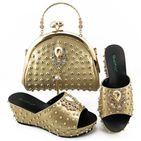 Image of New Fashion wedge heel women shoes with handbags Italian Women High Quality with Shining in Rivets For Wedding
