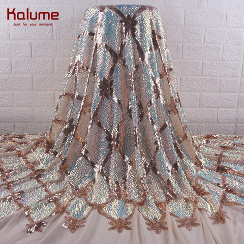 Kalume African Lace Fabric Diy Dress Gold French Mesh Sequins Lace Fabric Dresses Nigerian Lace Fabric For Wedding Party F1890