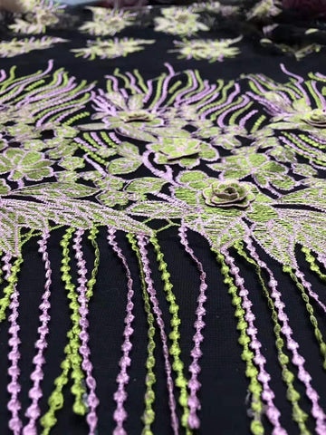 Image of Embroidered Tassel French Flannel African Lace Fabric New Flowers Embroidered Nigerian Fabric, Dress / Skirt Design Fabric 5y