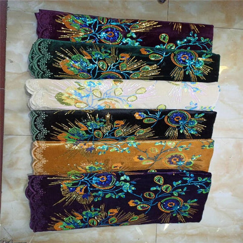 Image of Lace Trim Latest African sequins Laces 2021 purple Velvet Lace Embroidery Gold Lace Fabric Bridal Lace For Nigerian Dresses