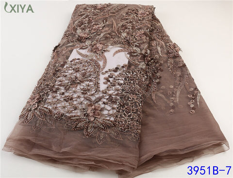 Image of Heavy Handmade Beaded Lace Fabric High Quality 2021 African French Mesh Tulle Lace Fabric for Nigerian Party Wedding APW3951B