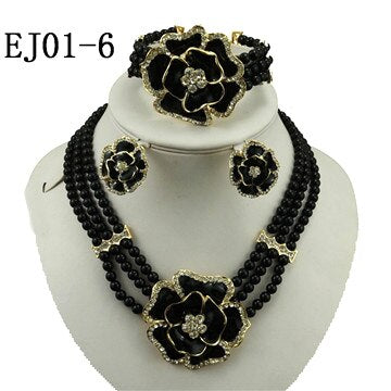Image of african beads jewelry sets for women necklace pendant wedding costume jewelry set indian jewelry Dubai gold jewelry set