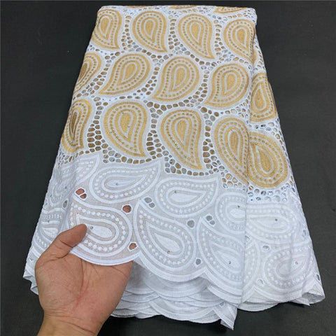 Image of MIQIER High Quality African Nigerian Tulle Lace Fabric Cotton Embroidery Wedding Party Dress Swiss Golden White 2.5Yards Latest