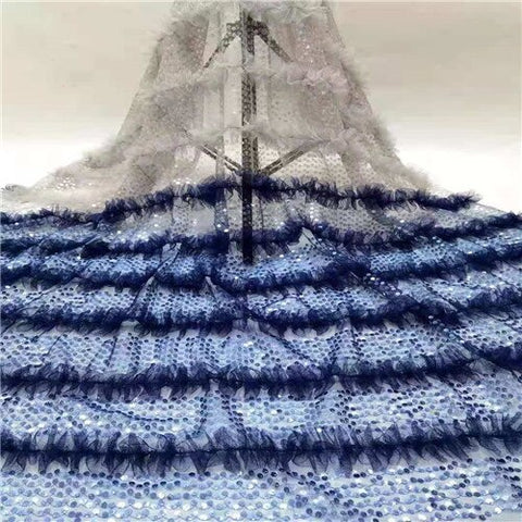 Image of Blue French Lace Fabric Nigerian Lace Fabric 5 Yards African Fabric Embroidery Tulle Lace Fabric for Party Dress SL1152