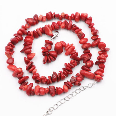 Image of Charming Necklace Bracelet Dubai Jewelry Set Red Coral Stone Wedding African Beads Bridal Sets Natural Stone Chain Jewelry A929