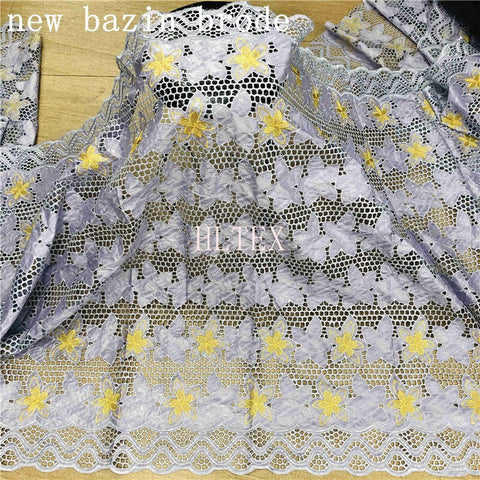 Image of 2.5 Yards New Arrival  African Bazin Riche Fabric With Beads Embroidery Lace / Basin riche dress material Nigerian For wedding
