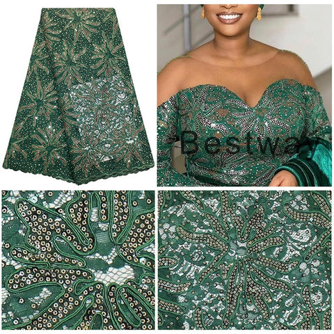 Cassiel Newest African Sequins+Beads Lace Fabric French Lace Fabric 2019 High Quality Material Nigerian Lace Fabric For Dress