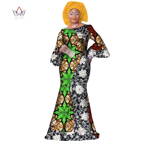 Summer Plus Size Women Clothing Maxi Natural Dress Dashiki African Dress For Women In African Clothing Party Long Dress  WY2709