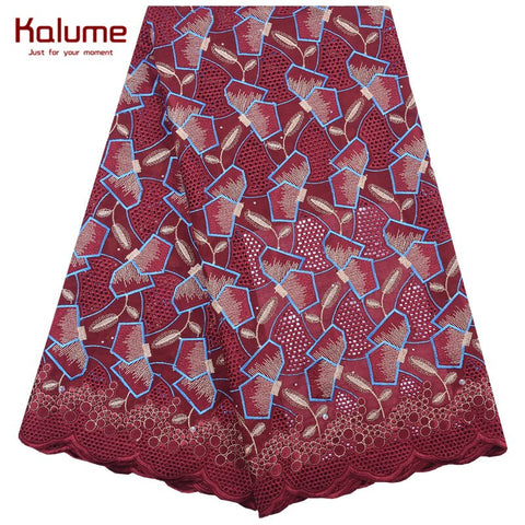 Image of Kalume Latest African Swiss Cotton Lace Fabric High Quality Nigerian Swiss Voile Lace Fabric Stones For Dress Occasions F2050