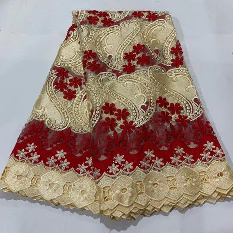 2020 Latest French Tulle Lace Fabric High Quality Europe And American Fashion african Guipure Cord Fabric With Beads Stone