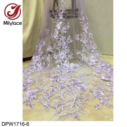 Nigerian French Lace Fabrics 2019 African Tulle Lace Fabric High Quality 3D Flower Embroidered Wedding Fabric DPW1716