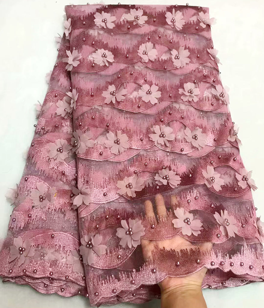 Hide powde 3D Flower Latest African Beaded Cord Lace Fabric High Quality Nigerian Lace Fabric For Wedding French Lace Fabric