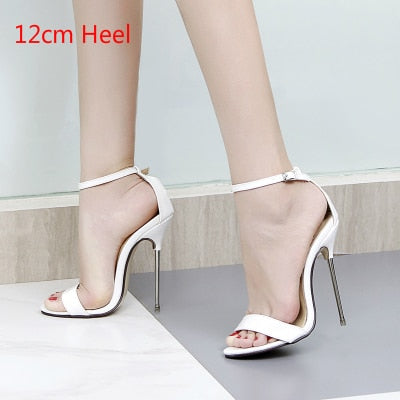 Image of High Heels Women Summer Sandals 2018 Fashion Metal Stiletto Sexy Party Fenty Beauty Shoes Ankle Strap Open Toe Pumps Big Size