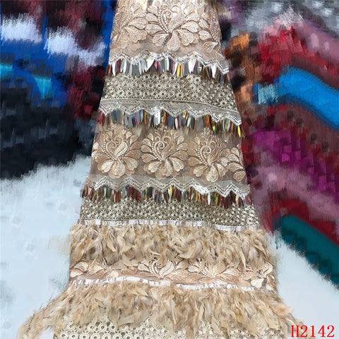 Image of High Quality 2019 Tulle Sequins French Nigerian Lace Fabrics Plume Embroidered African Red Lace Fabric HJ2142-1