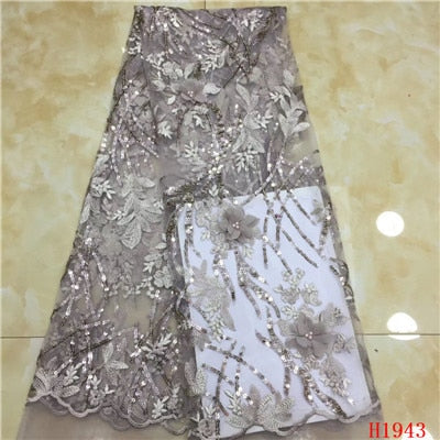 High Quality 3d Beaded African Tulle lace fabrics With Sequins Nigerian Lace Fabric For Women French Mesh Lace FabricHX1943-1