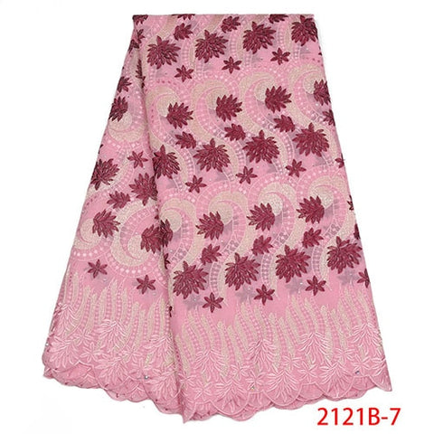 High Quality African Cotton Lace Fabric Fashion Swiss Voile Lace Fabric Embroidery Dry Lace Fabric For Party Dress NA2121B-1