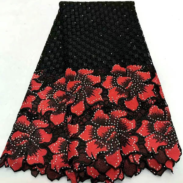 High Quality African Lace Fabric 2018 Latest African Guipure Lace Red & black Color Nigerian Guipure Lace Fabric