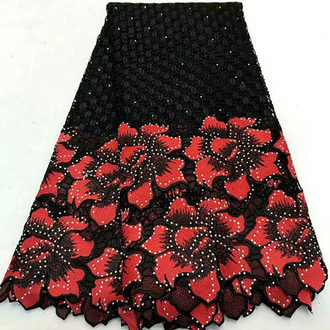 Image of High Quality African Lace Fabric 2018 Latest African Guipure Lace Red & black Color Nigerian Guipure Lace Fabric