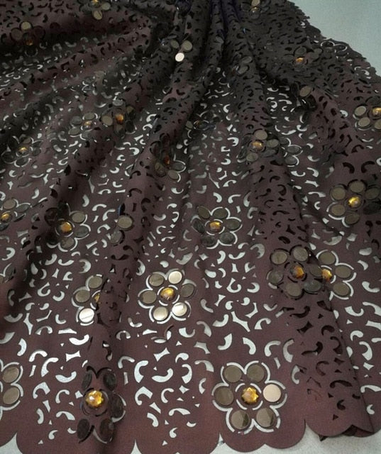 High Quality African Lace Fabric For Wedding Royal Blue French laser cut lace with big stones and sequins quality 5 yards