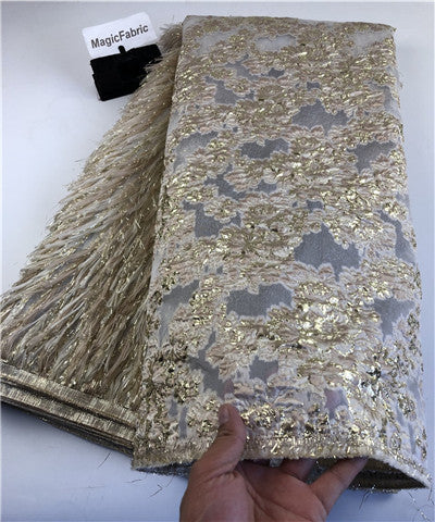 Image of High Quality African Lace Fabric Latest Organza Lace Fabric With Sequins Embroidered Nigerian Lace Fabric For Party   COP-004