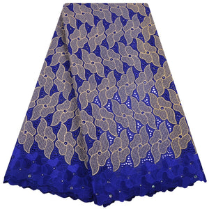 High Quality African Lace For Women Cotton Dry Lace Fabric Swiss Voile With Stones Blue Swiss Voile Lace In Switzerland S1383