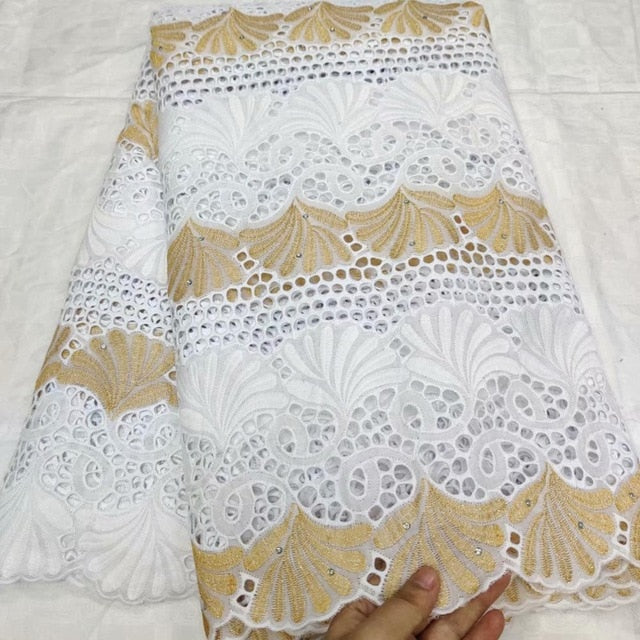 High Quality African Net Lace Fabric 100% Cotton Embroidery French Swiss voile Punch Cotton Lace Fabrics White 5Yards